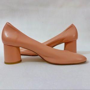 Zara Rich Pink Leather Round Block Heels **BNWT**